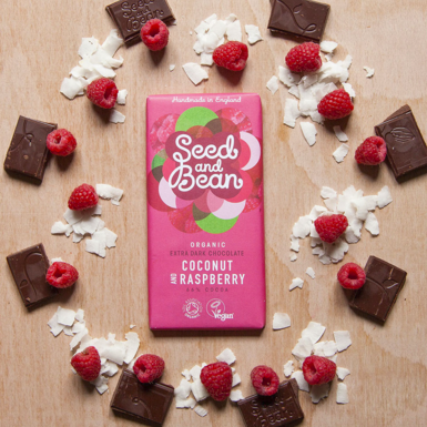 Seed & Bean Dark Chocolate with Coconut and Raspberry