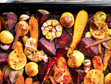 Garlic roasted vegetables